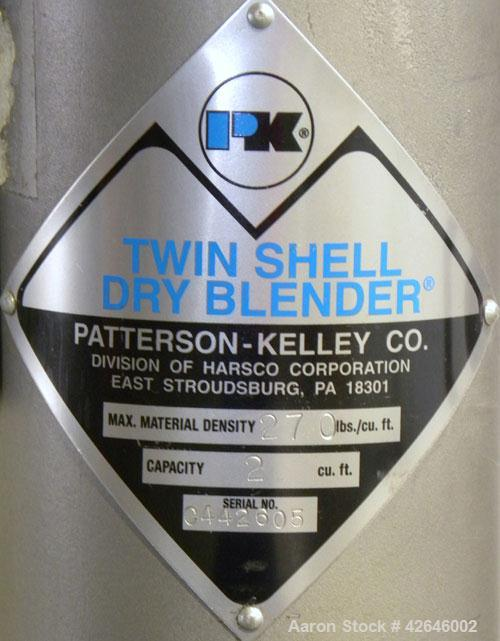 Used- Patterson-Kelley Twin Shell Dry Blender, 2 cubic feet capacity, 316 stainless steel. 270 Pounds per cubic foot maximum...