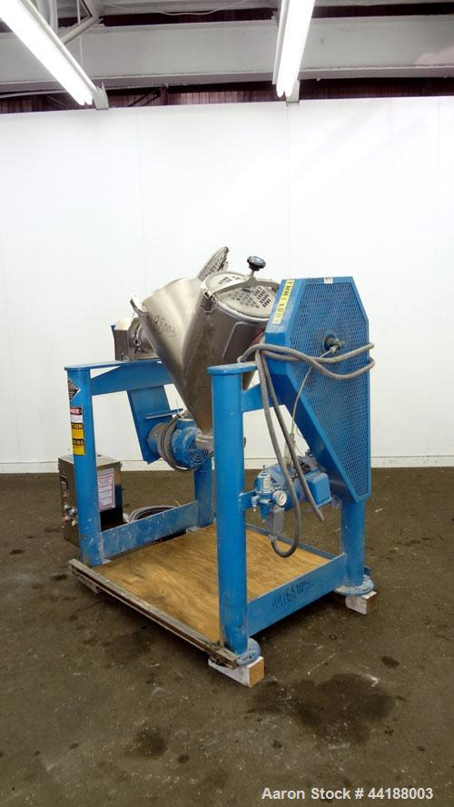 Used- Patterson-Kelley Twin Shell Dry Blender, 2 Cubic Feet Capacity, 316 Stainless Steel. 325 Pounds a cubic foot maximum m...
