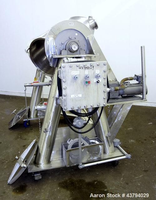 Used- Patterson-Kelley Twin Shell Dry Blender, 5 Cubic Feet Capacity, 316 Stainless Steel. 95 Pounds a cubic foot maximum ma...
