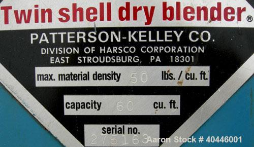 Used- Patterson Kelley Twin Shell Dry Blender, 60 Cubic Feet Capacity, 304 Stainless Steel. Maximum material density 50 poun...
