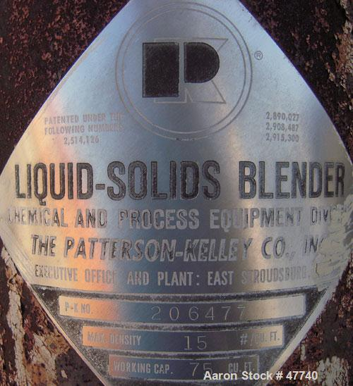 Used- Patterson-Kelley Twin Shell Liquid Solids Blender, 75 Cubic Foot Capacity, 304 Stainless Steel. Maximum material densi...