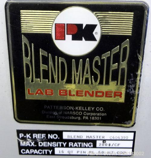 Used- Patterson-Kelley 16 Quart Blend Master Lab Blender, Maximum density rating 200 pound a cubic foot. Unit consists of (1...