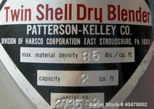 Used- Patterson Kelley twin shell dry blender, 2 cubic foot capacity, 316 stainless steel. Max material density 85 pounds pe...