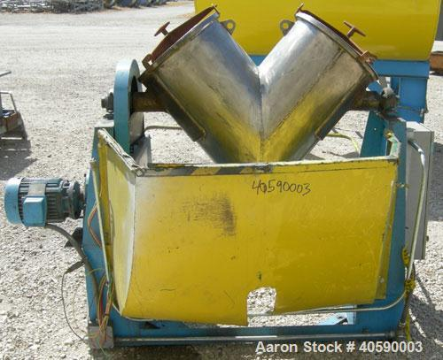 Used- Patterson Kelley twin shell blender, 3 cubic foot capacity, 304 stainless steel. 340 pounds per cubic foot max materia...