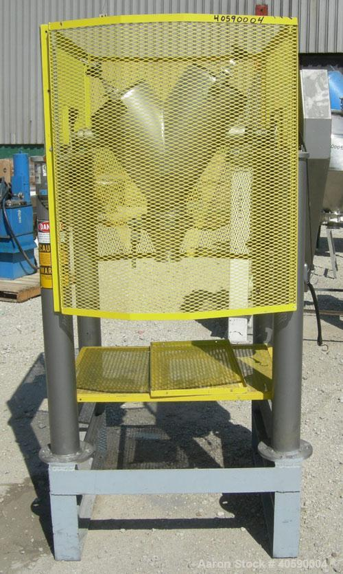 Used- Patterson Kelly twin shell cross flow blender, 1 cubic foot capacity, 316 stainless steel. Maximum material density 50...