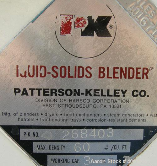 Used- Patterson Kelley Twin Shell Liquid Solids Blender, 3 cubic feet capacity, 304 stainless steel. 60 pounds per cubic foo...