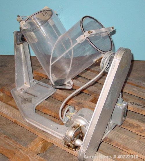 Used- Patterson Kelly Twin ShellBlender, 8 quart capacity, plexiglass shell. Boston Gear Works drive, 115V, 53.9 rpm.