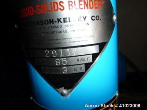 Used-Patterson Kelley 3 Cubic Feet Shell Crossflow Vee Blender.This unit features stainless steel shell, 3 cubic foot workin...