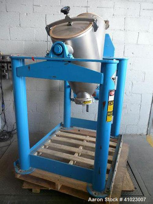 Used-Patterson Kelley 3 Cubic Feet Shell Crossflow Vee Blender.This newer style unit features stainless steel shell, liquids...