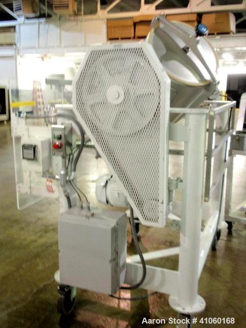 Used- Patterson Kelley Twin Shell Cross Flow Blender, 5 cubic feet, stainless steel. Maximum material density 106 pounds per...