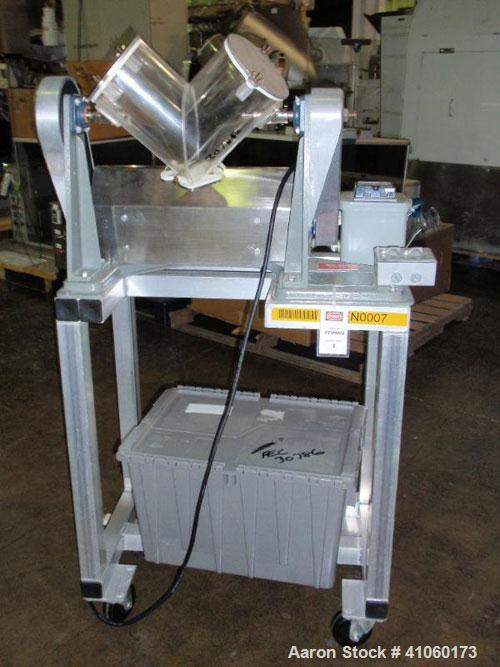 Used- Patterson Kelley Twin Shell Blender, 150#/ cubic foot max material density, with (1) 8 quart and (1) 4 quart plastic s...