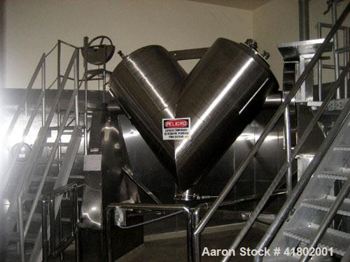 """Used- Patterson Kelley Twin Shell Dry Blender, 30 Cubic Feet Capacity, Stainless Steel. Approximately 36"""" diameter cones, (2..."""