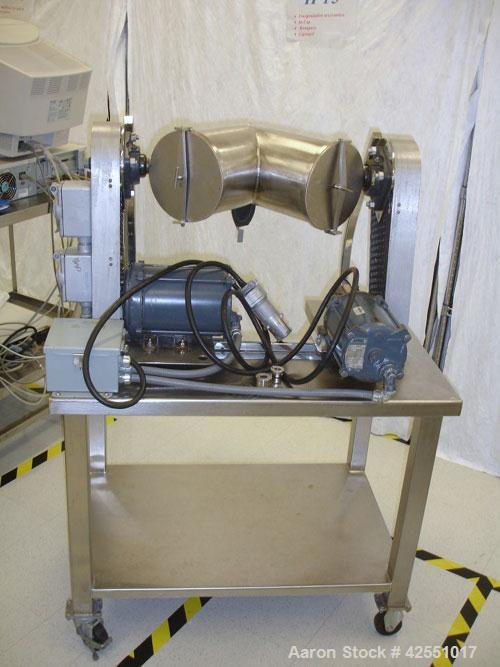 Used- Patterson-Kelley 8 Quart Twin Shell Blender, Stainless Steel Shell. Provision for bar less bar, 1/6 hp, 115 volt main ...