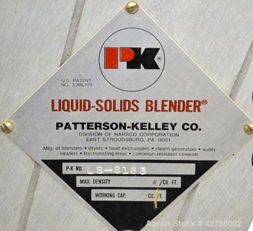 Used- Patterson-Kelley Twin Shell Liquid Solids Blender, (0.26) Cubic Feet Capacity (8 Quart). Plexiglass shell with (2) 7-1...