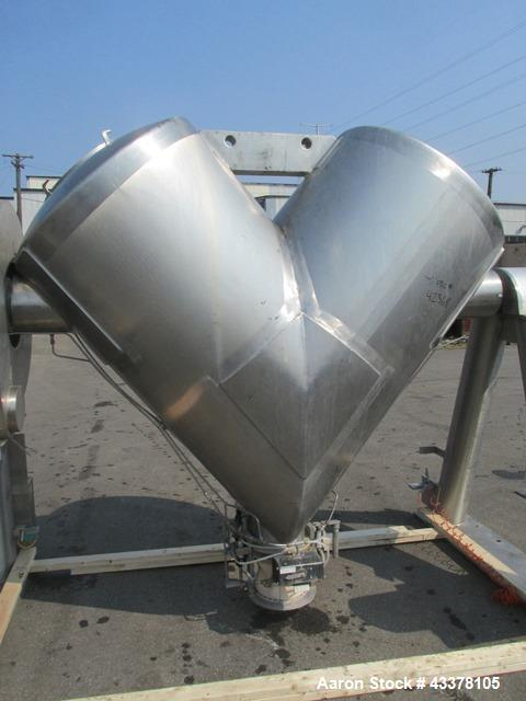 Used- Patterson-Kelley 50 Cubic Feet Twin Shell Blender. Stainless steel construction, rated for 50 pounds per cubic foot ma...