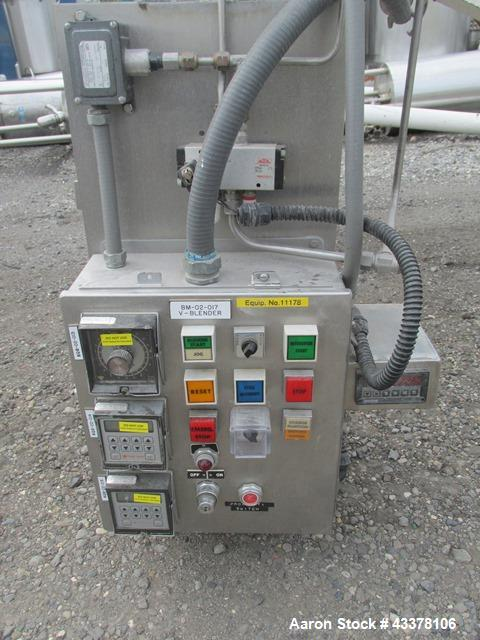 Used- Patterson-Kelley 75 Cubic Feet Twin Shell Blender. Stainless steel construction, rated for 50 pounds per cubic foot ma...