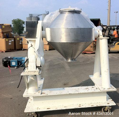 Used-Patterson Kelley Double Cone Blender, 10 cubic foot capacity.  Max material density 100 lb/cubic foot, stainless steel ...