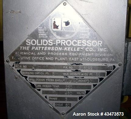 Used- Patterson-Kelley Twin Shell Solids Processor, 5 Cubic Feet, Stainless Steel. Rated 65 pounds per cubic foot maximum ma...