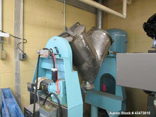 Used- Patterson Kelley Twin Shell Blender, 3 Cubic Feet. Stainless steel cosntruction, on stands, serial# 250332.