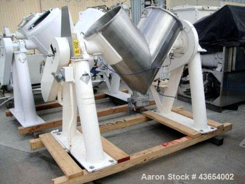 Used- Patterson-Kelley Twin Shell Blender, 5 Cubic Feet, Stainless Steel. Rated 70 pounds a cubic foot maximum material dens...