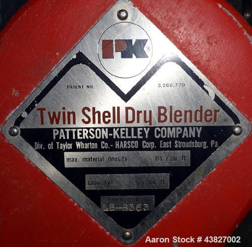 """Used- Patterson Kelley Twin Shell Dry Blender, 4 Quart Capacity (0.16 Cubic Feet), 304 Stainless Steel. (2) 5-1/2"""" diameter ..."""