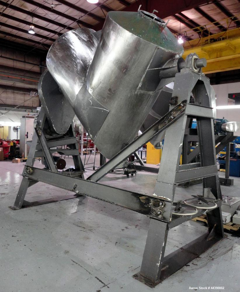 Used- Stainless Steel Patterson-Kelley Twin Shell Dry Blender, Approximate 100 C