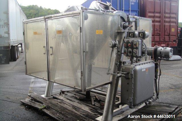 Used- Patterson-Kelley Twin Shell Blender, 10 Cubic Feet. Stainless steel construction. Maximum material density 70 pounds p...