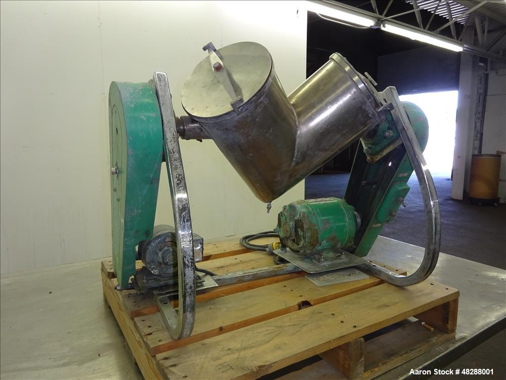 Used- Patterson Kelley V-Blender, Approximate 8 Quart (0.26 Cubic Feet), 304 Sta