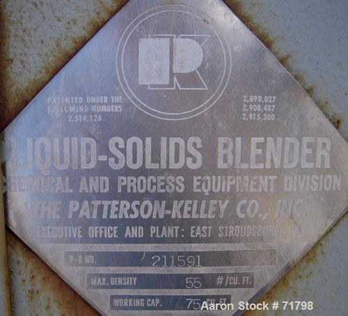 Used- Stainless Steel Patterson Kelley Twin Shell Liquid Solids Blender, 75 Cubi