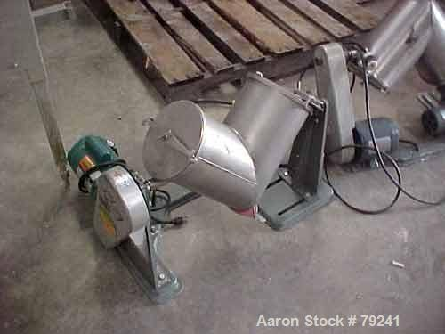 Used- Patterson Kelley Twin Shell Dry Blender, .26 Cubic Foot (8 Quart) Capacity, Stainless Steel. Max material density 300 ...
