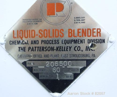 Used- Patterson-Kelley Twin Shell Liquid-Solids Blender, 1 Cubic Foot Capacity, 304 Stainless Steel. Maximum material densit...