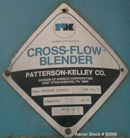 "USED: Patterson Kelley Cross Flow Blender, 75 cubic feet, carbon steel. 105# cubic foot max material density. (2) 18"" top ch..."