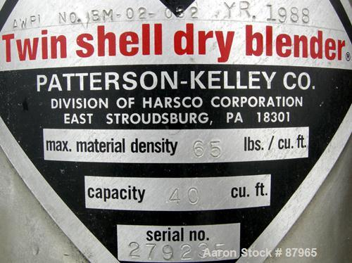 Used- Patterson Kelly Twin Shell Liquid Solids Blender, 40 Cubic Feet Capacity, 304 Stainless Steel. Maximum material densit...