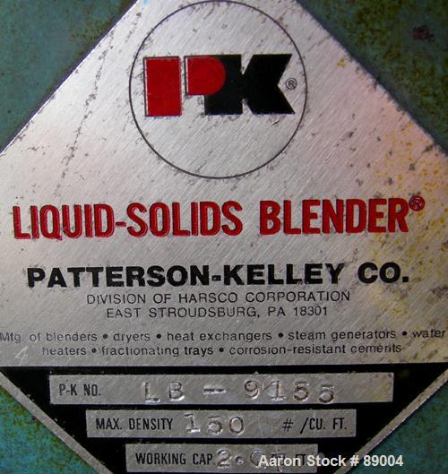 Used: Stainless Steel Patterson Kelley twin shell liquid solids blender, 2 quart capacity (.06 cubic feet)