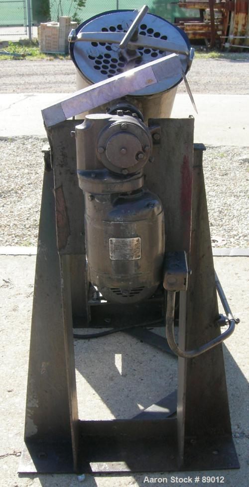 USED: Patterson Kelley twin shell liquid solids blender, 1 cubic foot working capacity, 304 stainless steel. Max material de...