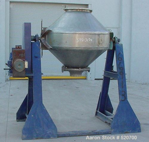 """USED: 20 Cubic Foot Patterson double cone blender, stainless steel. Shell measures 48"""" diameter x 12"""" straight side with 17""""..."""
