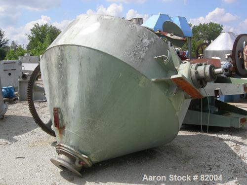 """USED: Patterson Industries double cone blender, 135 cu ft working, 193 total. 304 stainless steel. 90"""" diameter x 24"""" straig..."""