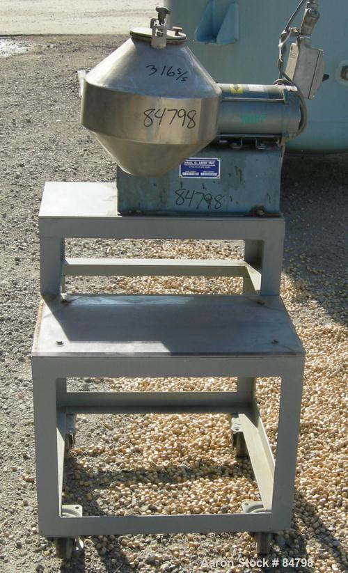 Used- Stainless Steel Paul O Abbe Double Cone Blender, Model 12RCB, (0.3) Cubic