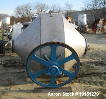 Used- Paul O. Abbe 70 Cubic Foot (working) Double Cone Mixer. 304 stainless steel construction (product contact areas). Tota...