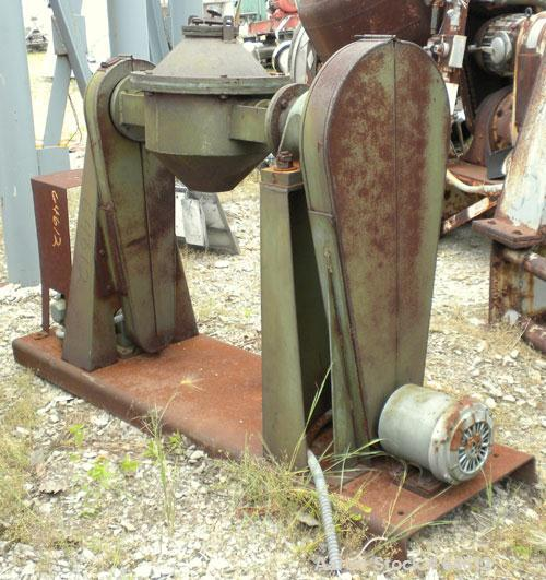 Used- Paul O Abbe Double Cone Blender, Model RCB12, .33 cubic foot working, 0.5 total. Carbon steel/rubber lined internal, 1...