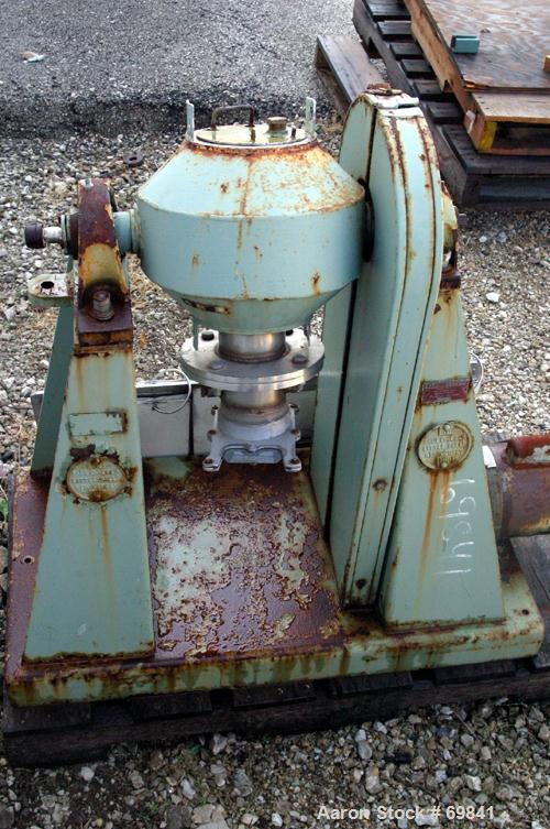 "Used- Paul O Abbe Double Cone Blender, Model RCVD9, .13 cubic foot working capacity, .2 total, 304 stainless steel. 9"" diame..."