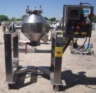 Used- Gemco Double Cone Blender, 3 Cubic Feet, 304 Stainless Steel. Maximum material density 90 pounds a cubic foot. 26