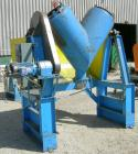 Used- Carbon Steel Twin Shell Blender, approximately 10 cubic foot capacity