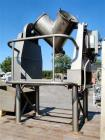 Used- Patterson Kelley Twin Shell V Blender, 2 Cubic Foot, Stainless Steel. Bulk Density 60 lbs per cubic foot, swing radius...