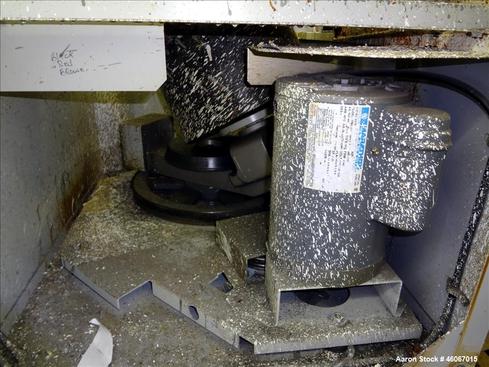 Used- Hero Industries 2500 Dual Axis High Speed Automatic Paint Shaker. Approximate 5 gallon container capacity. Driven by a...