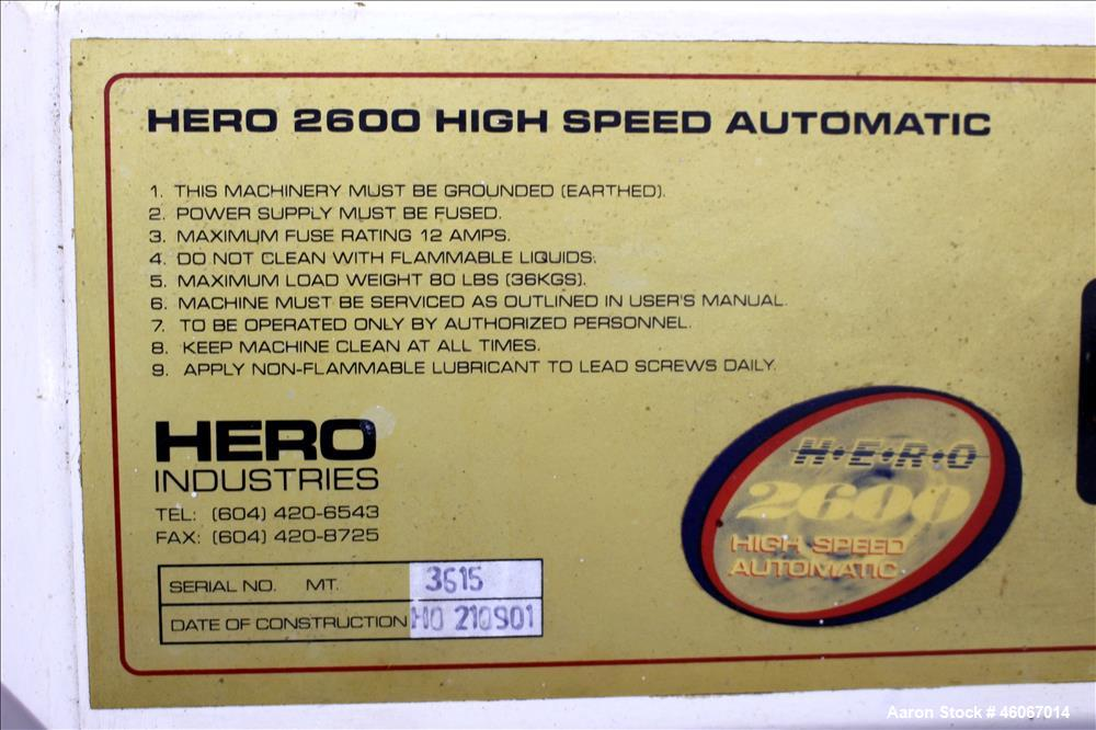 Used- Hero Industries 2600 High Speed Automatic Paint Shaker. Maximum load weight 80 pounds. 1/60/110/115 volt. Built 1999. ...