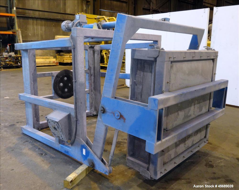 "Used- Metalcraft Tote Tumbler, Model 31753. Includes (9) Stainless Steel Totes, 55"" Wide x 27.5"" Straight Side x 42.5"" Cone...."