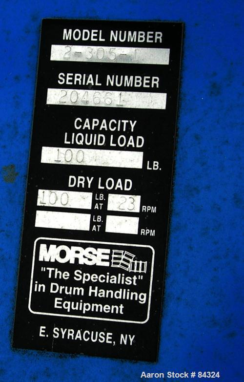 Used- Morse Dual Can Tumbler, Model 2-305-1. Capacity (2) 8.5 gallon drums at 100 pounds per drum at 23 rpm. Minimum/maximum...