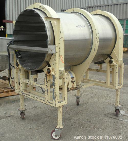 """Used- Horizontal Drum Tumbler, 316 stainless steel. Approximate 33"""" diameter x 72"""" long drum, with internal flights. Driven ..."""