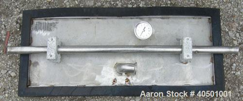 "Used- Horizontal Drum Tumbler, 304 stainless steel. 28"" diameter x 34"" straight side, dished ends. 12"" x 32"" side charge wit..."